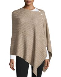 Neiman Marcus | Asymmetric Button-front Cable-knit Poncho | Lyst
