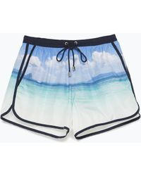 Zara Printed Swim Trunks - Lyst