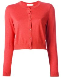 Tory Burch Red Buttoned Cardigan - Lyst