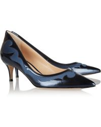 Gianvito Rossi Satin Paneled Leather Pumps - Lyst