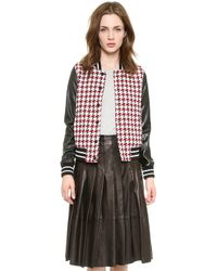 Re:named - Houndstooth Varsity Jacket  Redblack - Lyst