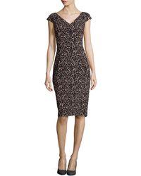 Michael Kors Lace-print V-neck Sheath Knee-length Dress - Lyst