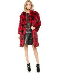 Jay Ahr - Faux Fur Coat - Red - Lyst