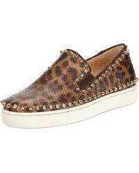 Christian Louboutin Leopard-Print Python Skate Shoe - Lyst