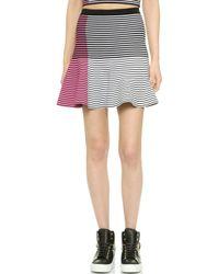 Ohne Titel - Asymmetrical Flare Skirt - Pink Stripe - Lyst