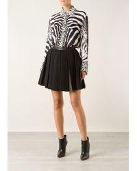 Balmain Black Wool and Lambskin Pleated Skirt - Lyst