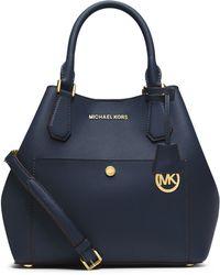 MICHAEL Michael Kors Large Saffiano Leather Grab Bag blue - Lyst