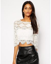 TFNC Lace Top With Scallop Trim beige - Lyst