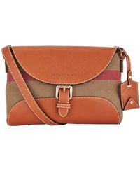 Burberry Small Leather Detail Canvas Check Crossbody Bag - Lyst