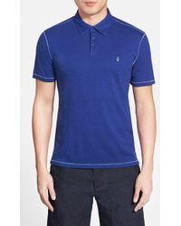 John Varvatos 'Peace' Slim Fit Slub Cotton Polo blue - Lyst