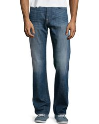 7 For All Mankind Standard Straight-leg Faded Jeans - Lyst