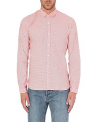 Oliver Spencer Broadstone Finestriped Cotton Shirt Red - Lyst