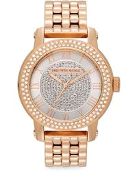 Saks Fifth Avenue - Rose Goldtone Stainless Steel Sparkle Bracelet Watch - Lyst