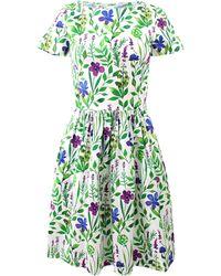 Oscar de la Renta Floral Print Dress - Lyst