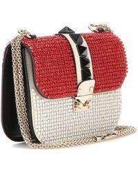 Valentino Lock Small Embellished Leather Shoulder Bag - Lyst