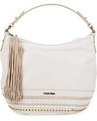 Calvin Klein Embellished Leather Hobo Bag - Lyst