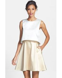ERIN Erin Fetherston - 'tippy' Popover Satin Fit & Flare Dress - Lyst
