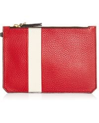 Etienne Aigner - M'o Exclusive Eva Lipstick Pouch In Red And Ivory With Grey Pom Pom - Lyst
