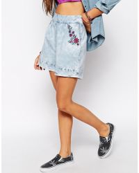 Bellfield | Embroidered Denim Shorts | Lyst