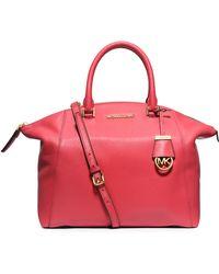 MICHAEL Michael Kors Riley Large Pebbled Leather Satchel Bag - Lyst