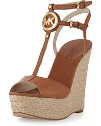 Michael Kors Keely Logo Wedge Sandal - Lyst