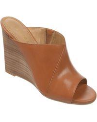 Franco Sarto Filigree Leather Wedge Slides - Lyst