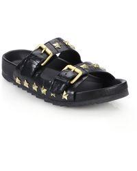 Ash United Star-Studded Leather Slide Sandals - Lyst