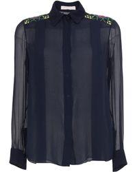 Matthew Williamson Palmeraie Embroidered Georgette Tuck Front Shirt - Lyst