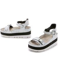 Ash Vera Platform Sandals - White/Black - Lyst