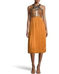 Catherine Deane Ryo Leather Silk Dress - Lyst