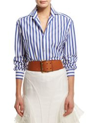 7e7b39654bf1 Ralph Lauren Collection - Wide-striped Long-sleeve Blouse - Lyst