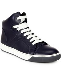 Lanvin Leather Lace-Up Sneakers - Lyst