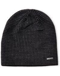 Calvin Klein Charcoal  Black Grid Reversible Knit Beanie - Lyst