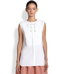 TOME Lace-Up Poplin Blouse - Lyst