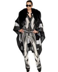 Roberto Cavalli Wool Felt Cape with Fox Fur Trim - Lyst