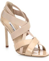 Manolo Blahnik Patent & Elastic Strappy Sandals - Lyst