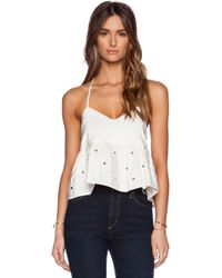 Tibi Faille Brodee Strappy Ruffle Cami - Lyst