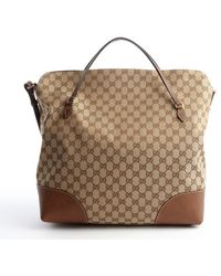 Gucci Brown Canvas and Leather Trimmed Top Handle Tote - Lyst