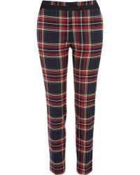River Island Red Check Smart Trousers - Lyst