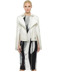 Sally Lapointe Leather Bomber Jacket - White - Lyst