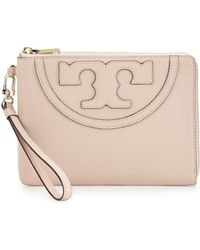 Tory Burch All-T Pebbled Leather Sectional Wristlet - Lyst