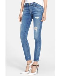 Current/Elliott 'The Stiletto' Destroyed Skinny Jeans - Lyst