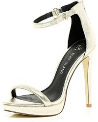 River Island Gold Platform Barely There Sandals - Lyst