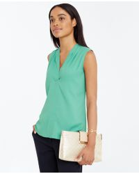 Ann Taylor Shoulder Pleat Crepe Shell green - Lyst