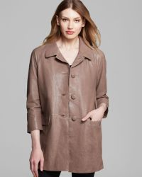 Kate Spade Bow Back Leather Coat - Lyst