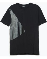 Zara Tshirt with Faux Leather Detail - Lyst