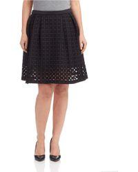 Catherine Malandrino Black Textured Skirt - Lyst