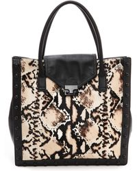 Loeffler Randall Work Tote with Haircalf Python Print and Black - Lyst