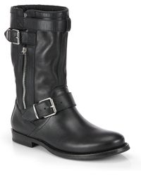 Burberry Grantville Leather Buckle Midcalf Boots - Lyst