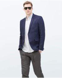 Zara Basic Linen Blazer - Lyst